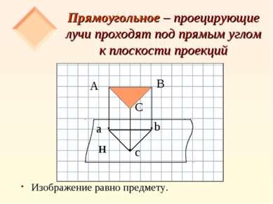 Прямоугольное – проецирующие лучи проходят под прямым углом к плоскости проек...