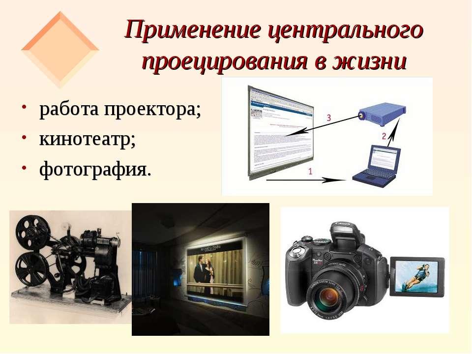 Применение центрального проецирования в жизни работа проектора; кинотеатр; фо...