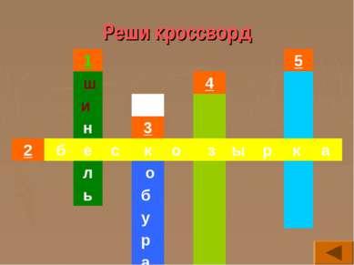 Реши кроссворд 1 5 ш 4  и    н 3   2 б е с к о з ы р к а л о...