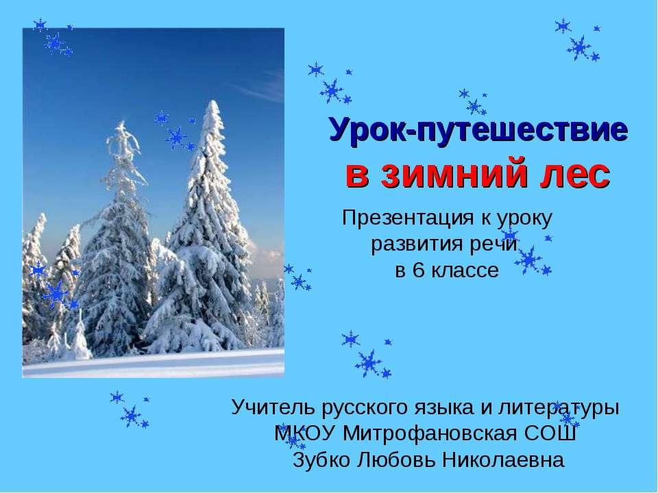 Урок-путешествие в зимний лес Презентация к уроку развития речи в 6 классе Уч...