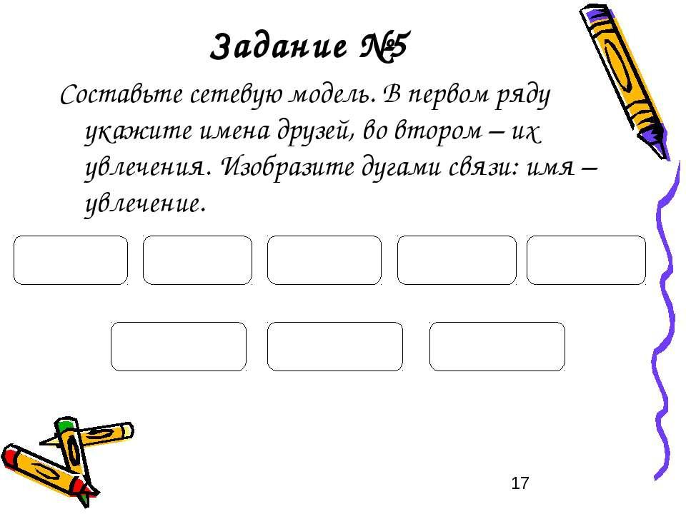 Задание №5 Составьте сетевую модель. В первом ряду укажите имена друзей, во в...