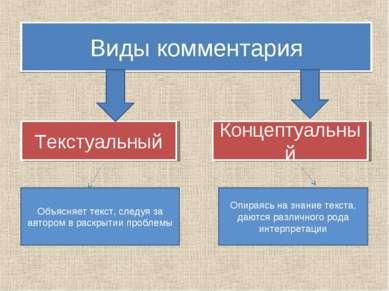 Виды комментария Текстуальный Концептуальный