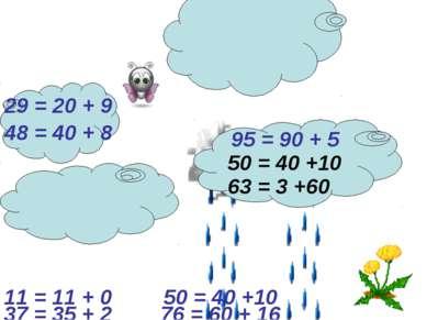 29 = 20 + 9 95 = 90 + 5 48 = 40 + 8 63 = 3 +60 50 = 40 +10 37 = 35 + 2 11 = 1...