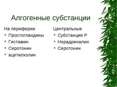 Алгогенные субстанции На периферии Простогландины Гистамин Серотонин ацетилхо...