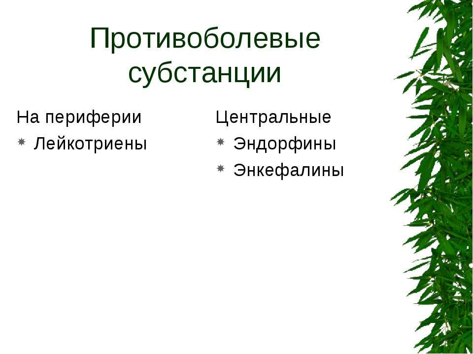 Противоболевые субстанции На периферии Лейкотриены Центральные Эндорфины Энке...