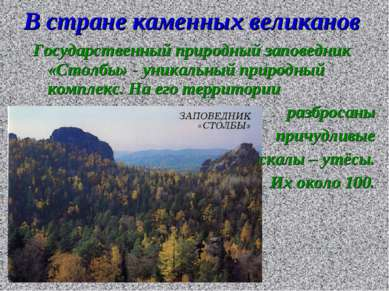 В стране каменных великанов Государственный природный заповедник «Столбы» - у...