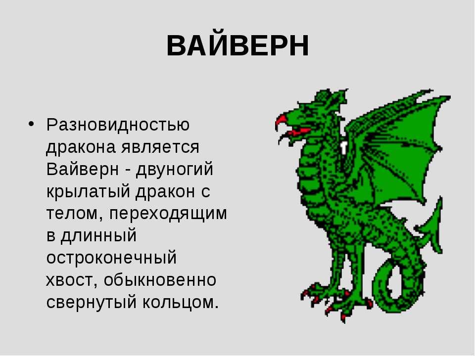 ВАЙВЕРН Разновидностью дракона является Вайверн - двуногий крылатый дракон с ...
