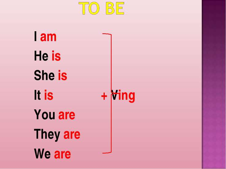 I am He is She is It is + Ving You are They are We are