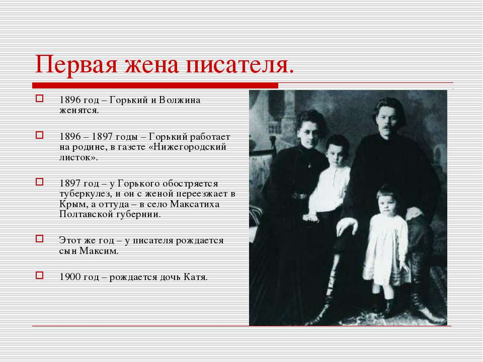 Первая жена писателя. 1896 год – Горький и Волжина женятся. 1896 – 1897 годы ...