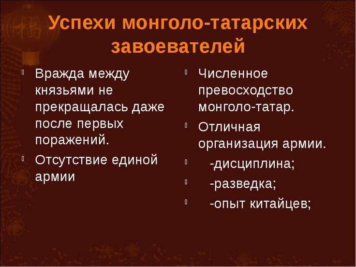Почему монголо-татарам удалось быстро завоевать земли руси