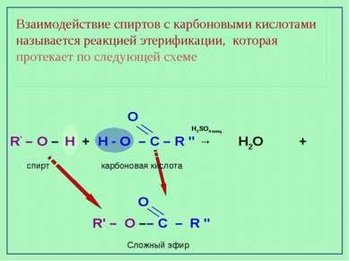 Взаимодействие спиртов с карбоновыми кислотами называется реакцией этерификац...