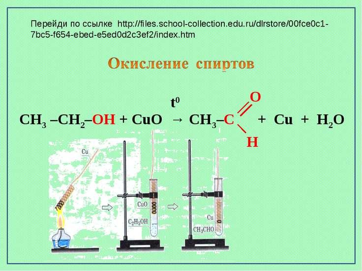 CH3 –CH2–OH + CuO → CH3–C + Cu + H2O t0 O H Перейди по ссылке http://files.sc...
