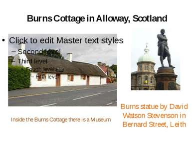 Burns Cottage in Alloway, Scotland Burns statue by David Watson Stevenson in ...