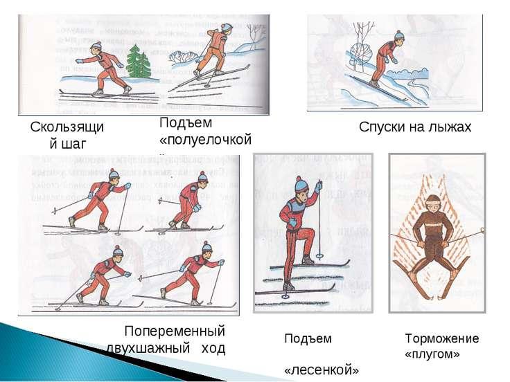 Подъем «лесенкой» Спуски на лыжах Подъем «полуелочкой» Скользящий шаг Поперем...