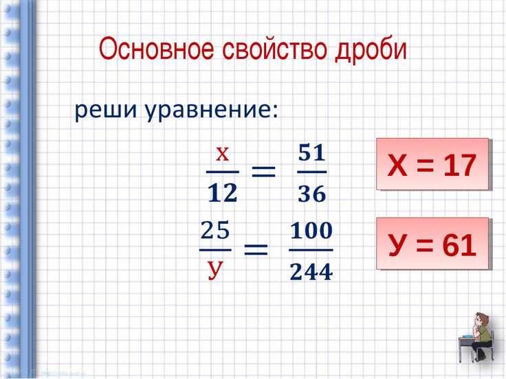 Основное свойство дроби Х = 17 У = 61