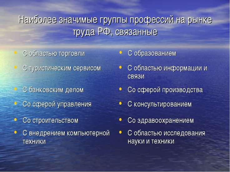 Наиболее значимые группы профессий на рынке труда РФ, связанные Со сферой упр...