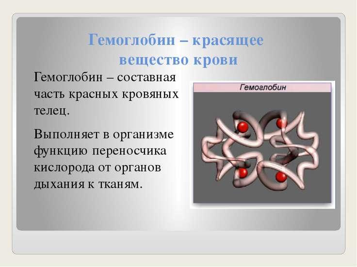 Гемоглобин – красящее вещество крови Гемоглобин – составная часть красных кро...