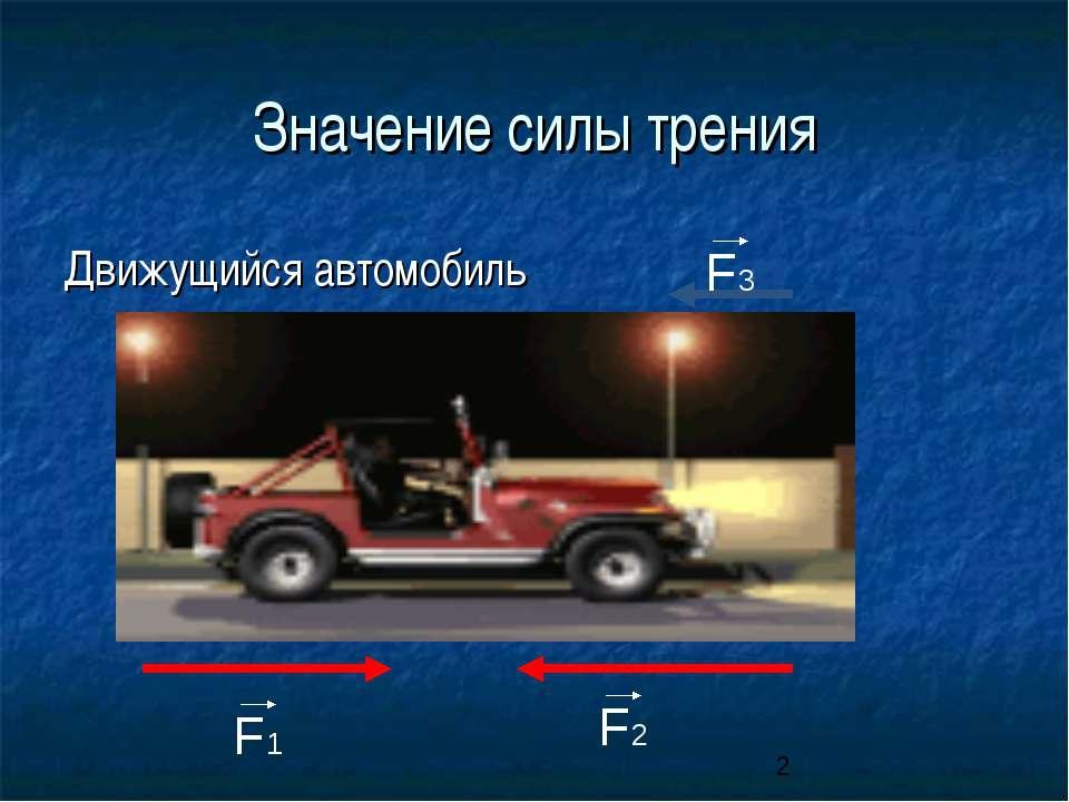 Значение силы трения Движущийся автомобиль F1 F2 F3
