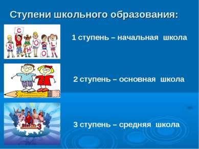 Ступени школьного образования: 1 ступень – начальная школа 2 ступень – основн...