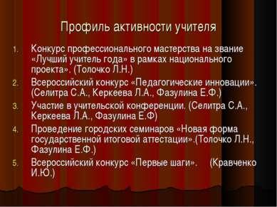 Профиль активности учителя Конкурс профессионального мастерства на звание «Лу...