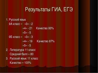 Результаты ГИА, ЕГЭ 1. Русский язык 9А класс – «3» - 2 «4» - 21 Качество 93% ...