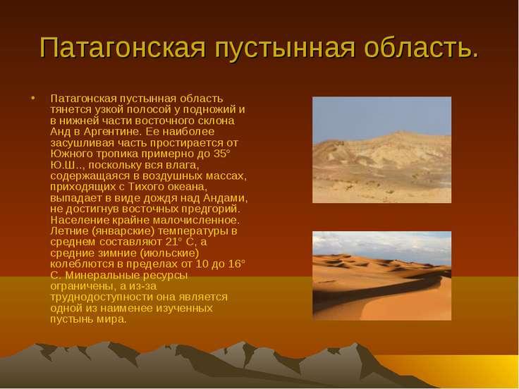 Патагонская пустынная область. Патагонская пустынная область тянется узкой по...
