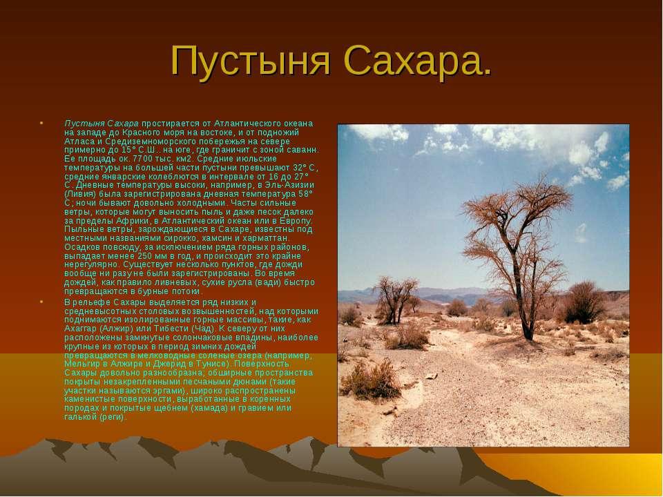Пустыня Сахара. Пустыня Сахара простирается от Атлантического океана на запад...