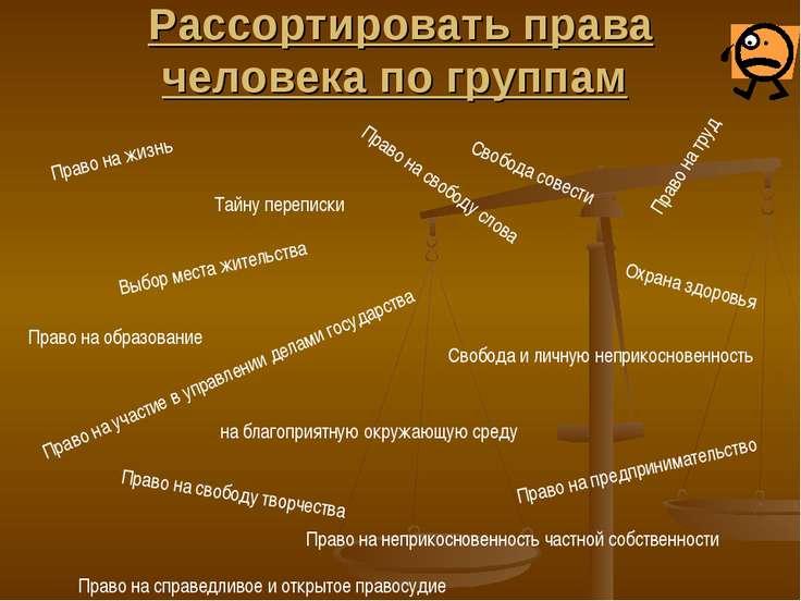 Рассортировать права человека по группам Право на жизнь Право на труд Право н...