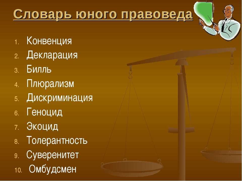 Словарь юного правоведа Конвенция Декларация Билль Плюрализм Дискриминация Ге...