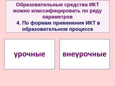 Образовательные средства ИКТ можно классифицировать по ряду параметров 4. По ...