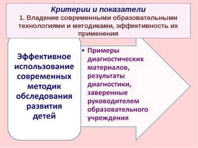 Критерии и показатели 1. Владение современными образовательными технологиями ...