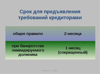 Срок для предъявления требований кредиторами © Райлян А.И. 2008 г. * общее пр...