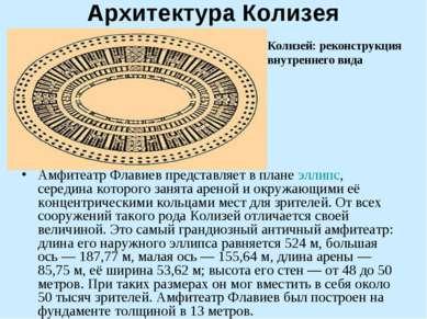 Архитектура Колизея Амфитеатр Флавиев представляет в плане эллипс, середина к...