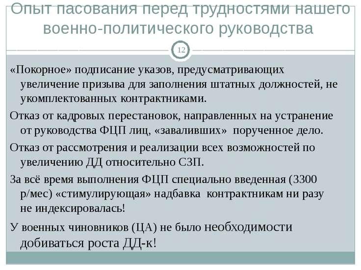 Опыт пасования перед трудностями нашего военно-политического руководства «Пок...