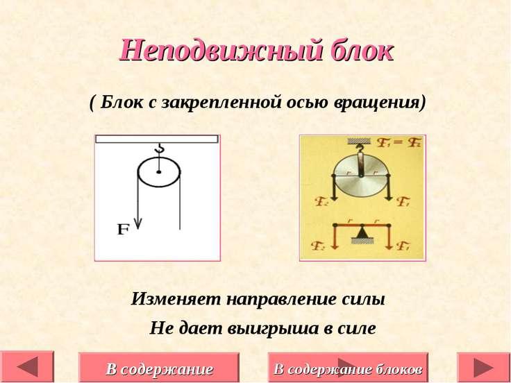 ( Блок с закрепленной осью вращения) Изменяет направление силы Не дает выигры...