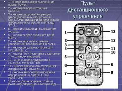 Пульт дистанционного управления 1 - кнопка включения-выключения лампы Power; ...