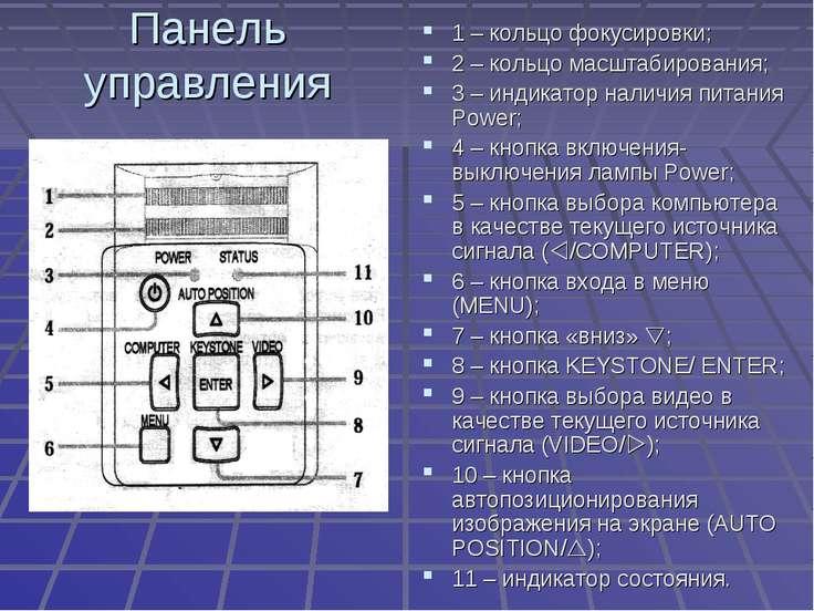 Панель управления 1 – кольцо фокусировки; 2 – кольцо масштабирования; 3 – инд...