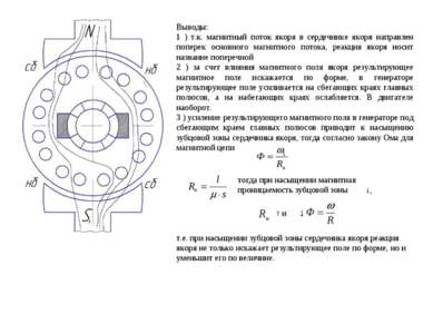 Выводы: 1 ) т.к. магнитный поток якоря в сердечнике якоря направлен поперек о...