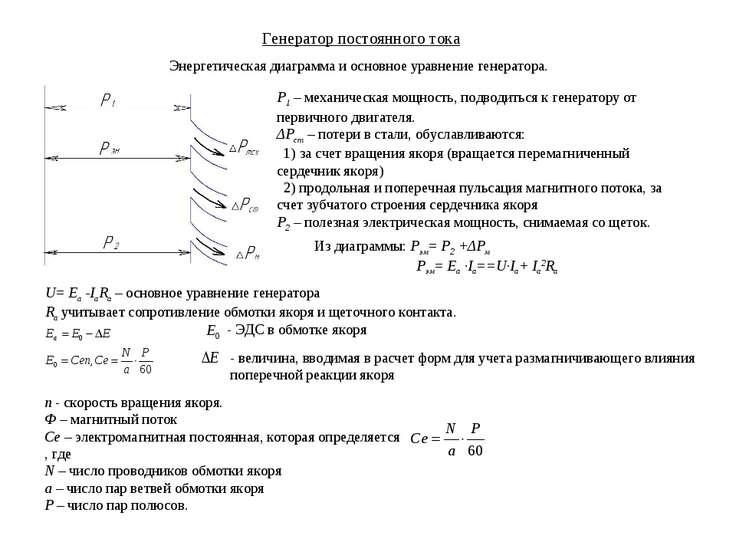 Генератор постоянного тока Энергетическая диаграмма и основное уравнение гене...