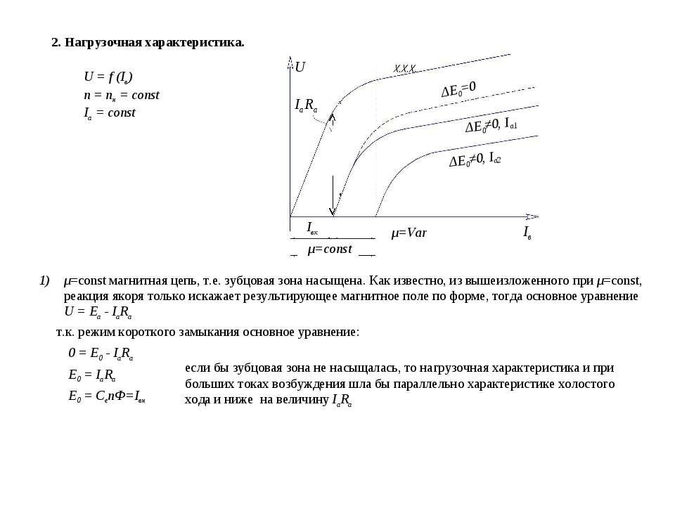 2. Нагрузочная характеристика. U = f (Iв) n = nн = const Ia = const U IaRa Iв...