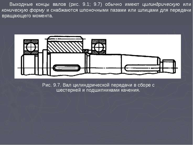 Выходные концы валов (рис. 9.1; 9.7) обычно имеют цилиндрическую или коническ...