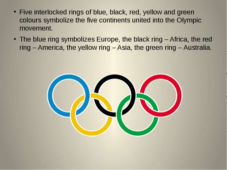 Five interlocked rings of blue, black, red, yellow and green colours symboliz...