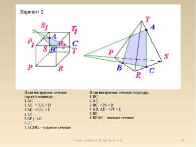 г.Невинномысск @ Киктенко Н.В. * Вариант 2 План построения сечения параллелеп...