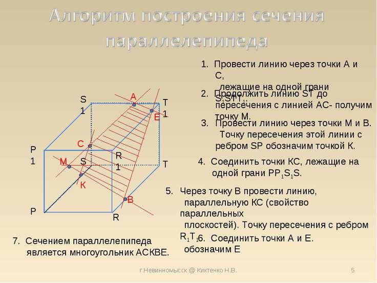 г.Невинномысск @ Киктенко Н.В. 1. Провести линию через точки A и С, лежащие н...