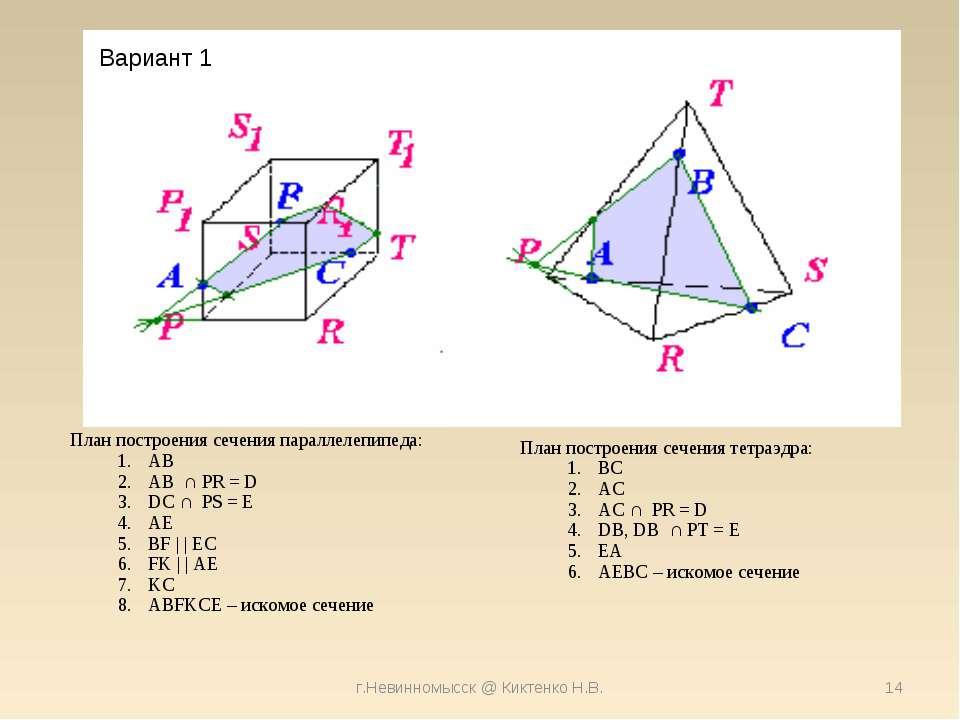 г.Невинномысск @ Киктенко Н.В. * Вариант 1 План построения сечения параллелеп...