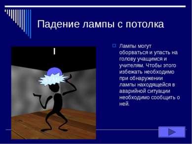 Падение лампы с потолка Лампы могут оборваться и упасть на голову учащимся и ...