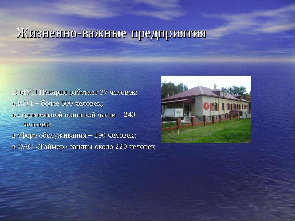 Жизненно-важные предприятия В МУП Пекарня работает 37 человек; в КЭЧ – более ...