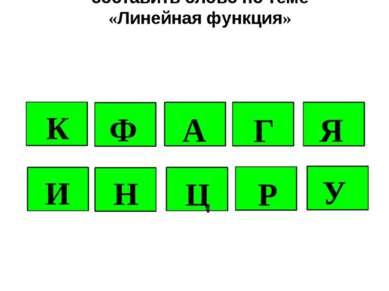 Из указанных букв составить слово по теме «Линейная функция» К Ф А Г И Н Ц Р Я У