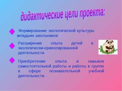 Формирование экологической культуры младших школьников Расширение опыта детей...