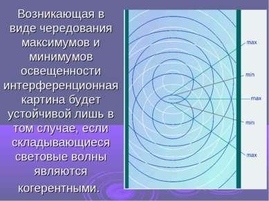 Возникающая в виде чередования максимумов и минимумов освещенности интерферен...